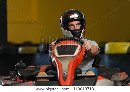 Young Man Karting Racer