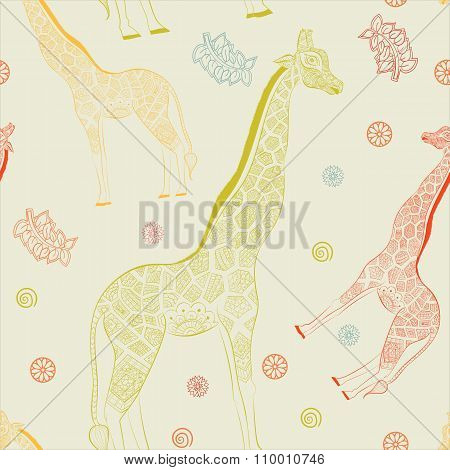 Beautiful adult Giraffe. Hand drawn Illustration of ornamental giraffe.  isolated giraffe on white b