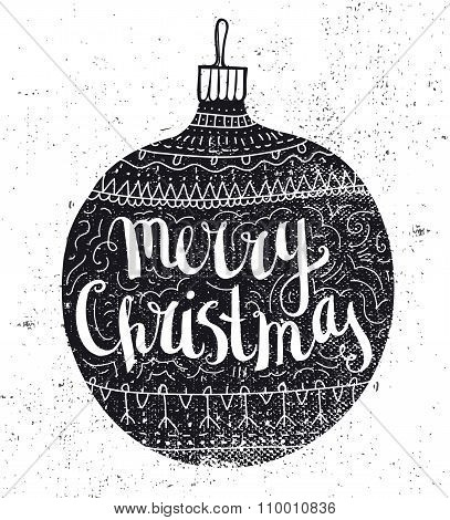 Vector Christmas ball vintage card. Hand drawn doodle holiday poster