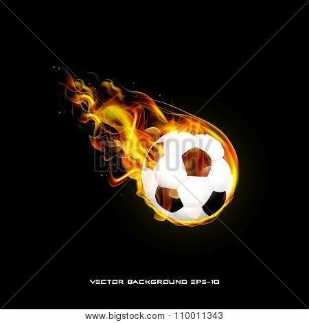Burning Ball On A Black Background Illustration Of Stylish