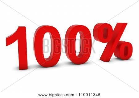 100% - One Hundred Percent Red 3D Text Isolated On White