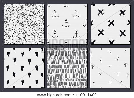 Vector set of abstract hand drawn doodle hipster patterns, textures.