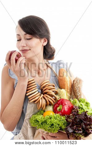 Young Beautiful Woman Holding Grocery Shopping Bag With Healthy Vegetarian Food.