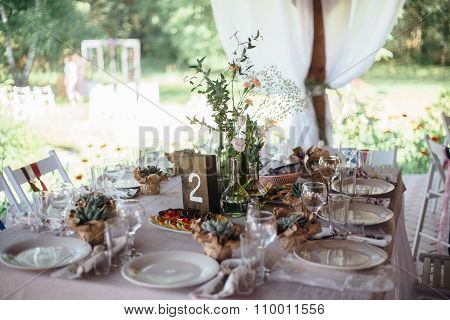 decoration wedding tables  in outdoor