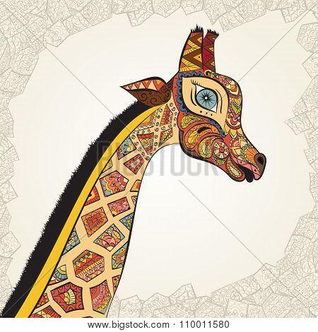 Beautiful adult Giraffe. Hand drawn Illustration of ornamental giraffe.  Colored giraffe on ornament