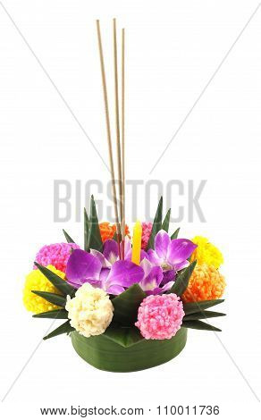 Colorful Thai Kratong Isolated On White