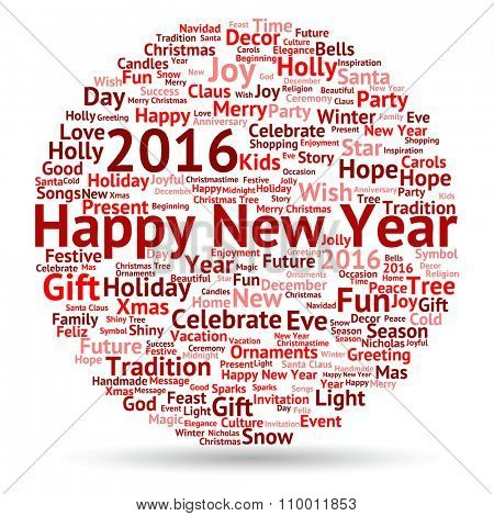 Concept or conceptual red Happy New Year 2016 Christmas abstract holiday word cloud isolated on background