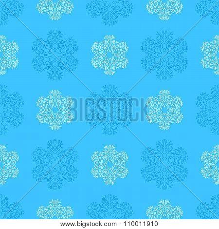 Outline Snowflakes Seamless Pattern.