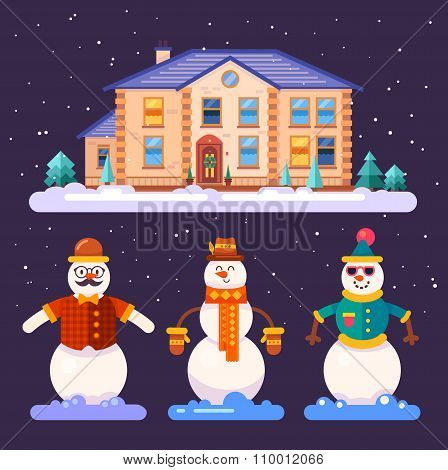 Set of snowmen in different styles