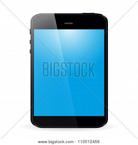 Tablet With Blue Screen And Shadow On White Background