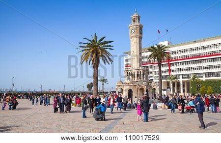 Historical Clock Tower, Symbol Of Izmir City