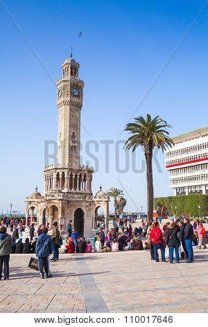 Historical Clock Tower, Symbol Of Izmir City, Turkey