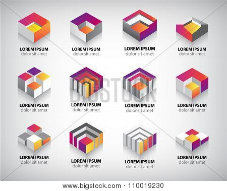 Vector set of colorful geometric 3d cube constructions, abstract logos