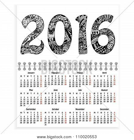 Spiral calendar with hand-drawn 2016 as cover