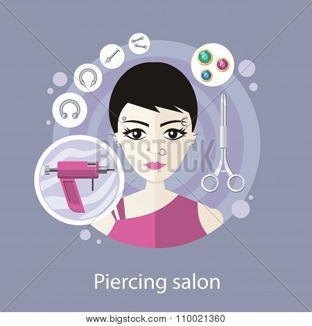 Piercing Salon Flat Style Design