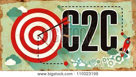 C2C Concept. Poster in Flat Design.