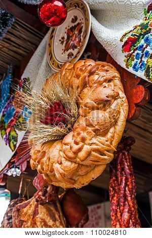 Christmas Time With Traditional Bread, Sausages And Decoration From Romania