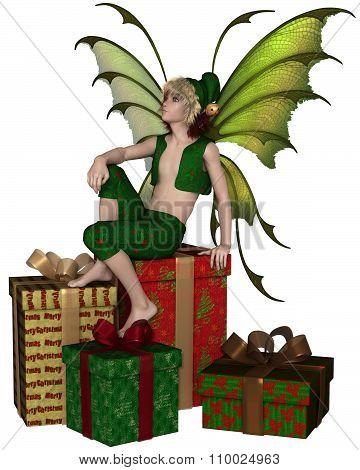 Christmas Fairy Elf Boy Sitting on a Pile of Presents