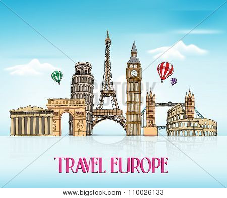 Travel Europe Hand Drawing with Famous Landmarks