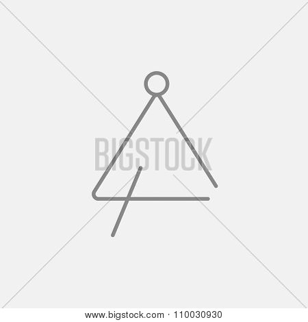 Triangle line icon for web, mobile and infographics. Vector dark grey icon isolated on light grey background.