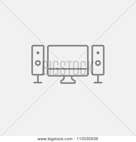 Home cinema system line icon for web, mobile and infographics. Vector dark grey icon isolated on light grey background.