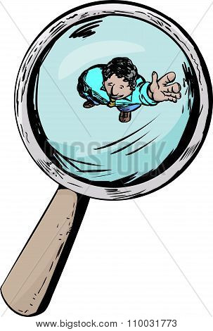 Man Waving Under Magnifying Glass