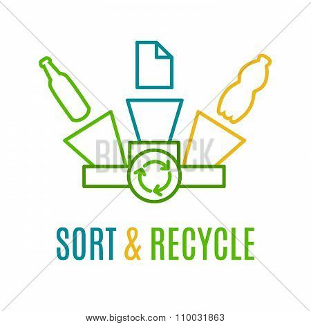 Paper, Plastic And Glass Waste Recycling Logo