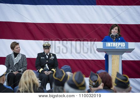 NEW YORK - NOV 25 2015: Kathleen Hochul, Lt Governor, State of New York speaks to the audience at the Intrepid Sea, Air & Space Museum wreath laying ceremony at Pier 86 on Veterans Day in Manhattan.
