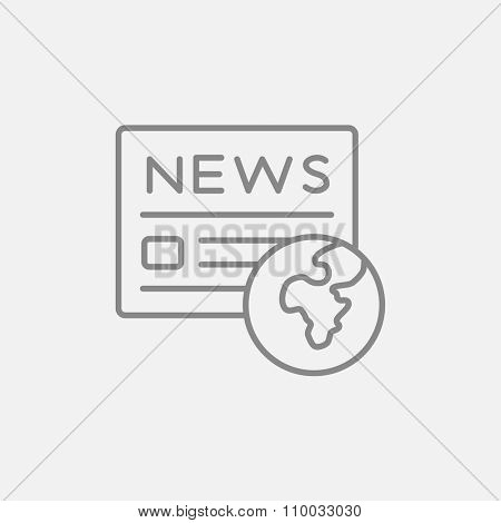 International newspaper line icon for web, mobile and infographics. Vector dark grey icon isolated on light grey background.