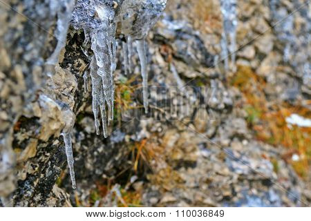 Icicles, freezing of dripping water, hanging on stone wall during winter