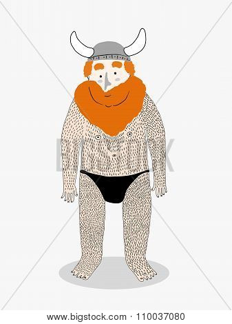 Hairy Viking Cartoon, Vector Illustration