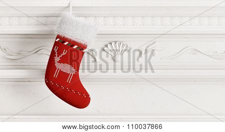 Red Christmas Stocking 3D Rendering