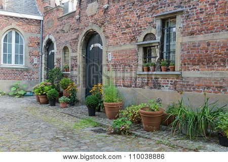 Beguinage With Old Historic Houses Downtown In Antwerp, Belgium