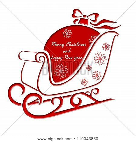 Christmas Sleigh With Christmas Ball - Greeting Card