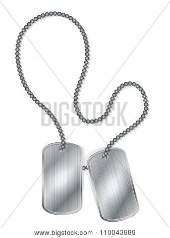 Blank army metal ID tags isolated on white background