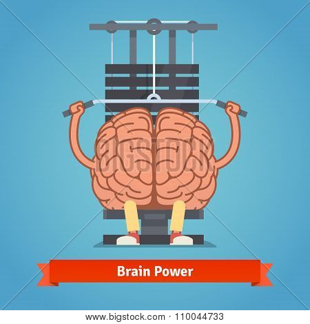 Athletic and fit brain doing heavy weight training