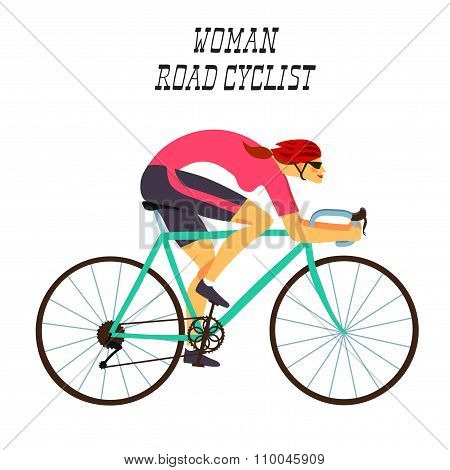 Fast Racing Cyclist Woman