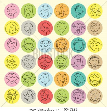 Set of hand drawn cartoon avatars people faces with expressions. Vector illustration poster