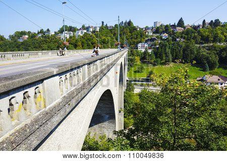 Zaehringen Bridge On The Sarine River, Fribourg