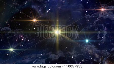 Five Yellow Ufo Spaceships In Space Night
