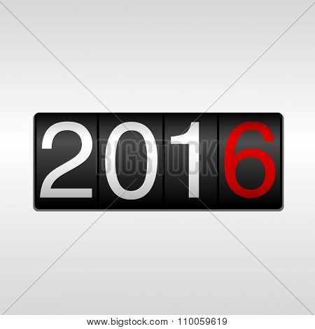2016 New Year Odometer - White and Red
