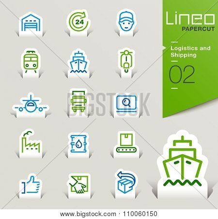 Lineo Papercut - Logistics and Shipping outline icons