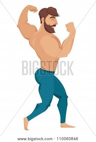 The man with the muscles. Sexy bearded muscular man in jeans. Posing bodybuilding