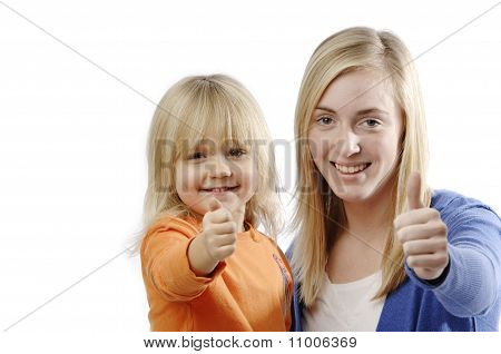 Teenage Girl And Toddler Flash Thumbs Up