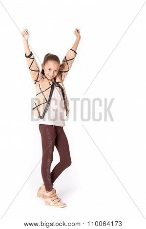 Young Girl Posing With A Victorious Pose