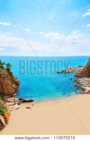 Tossa de Mar Codolar beach platja in Costa Brava of Catalonia Spain