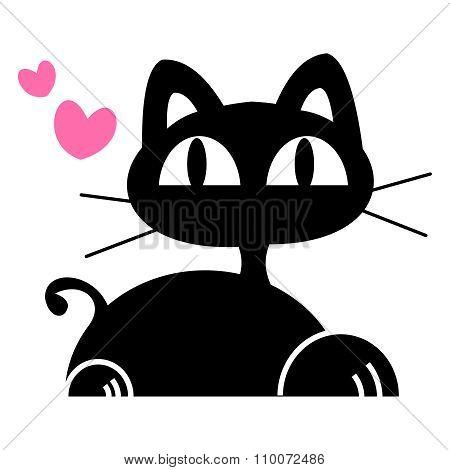 Vector cute cartoon black cat