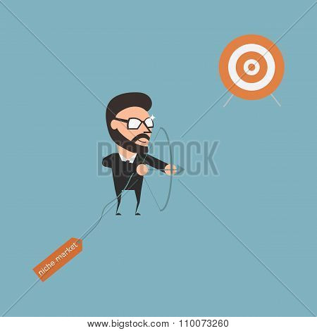 Specific Target. Marketing Strategy. Flat Illustration Cartoon Business Conceptual.