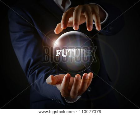 Future concept. Future word in transparent ball in hands on dark background
