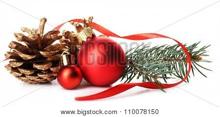 Red Christmas ball with pine and cone isolated on white background